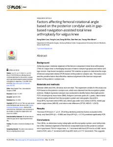 Factors affecting femoral rotational angle based on the ... - PLOS