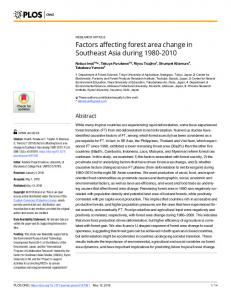 Factors affecting forest area change in Southeast Asia during ... - PLOS
