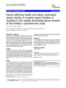 Factors affecting health and safety, particularly sharps injuries, in ...