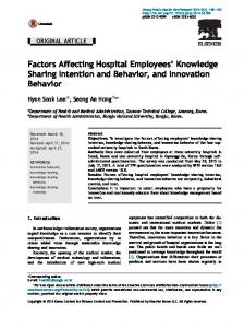 Factors Affecting Hospital Employees' Knowledge Sharing ... - Core