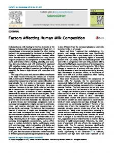 Factors Affecting Human Milk Composition