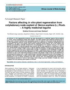 Factors affecting in vitro plant regeneration from cotyledonary node ...