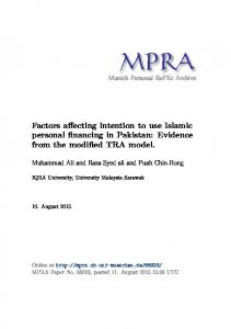 Factors affecting intention to use Islamic personal financing in Pakistan