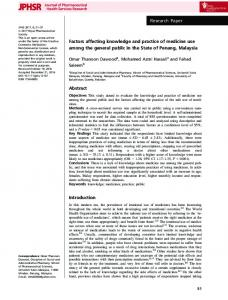 Factors affecting knowledge and practice of ... - Wiley Online Library