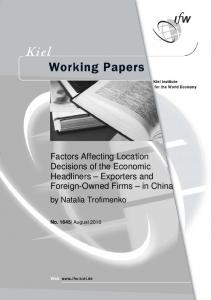 Factors Affecting Location Decisions of the Economic Headliners ...