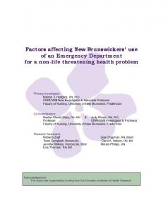 Factors affecting New Brunswickers' use of an Emergency Department ...