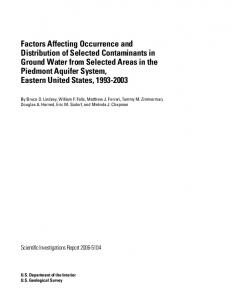 Factors Affecting Occurrence and Distribution of Selected ...