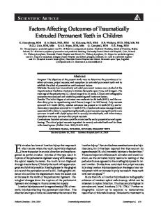 Factors Affecting Outcomes of Traumatically Extruded Permanent ...