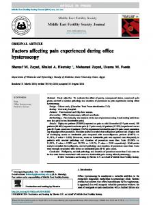 Factors affecting pain experienced during office hysteroscopy