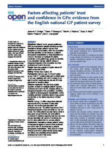 Factors affecting patients' trust and confidence in GPs: evidence ... - Core