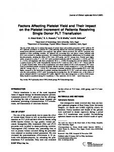 Factors affecting platelet yield and their impact ... - Wiley Online Library