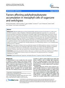 Factors affecting polyhydroxybutyrate accumulation in mesophyll cells ...