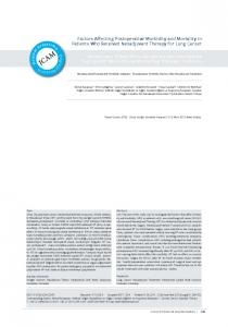 Factors Affecting Postoperative Morbidity and Mortality in Patients Who ...