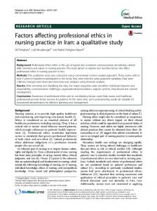 Factors affecting professional ethics in nursing practice in Iran: a ...