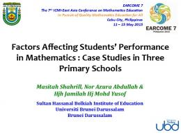 Factors Affecting Students' Performance in Mathematics