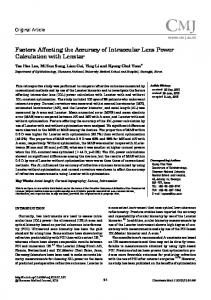 Factors Affecting the Accuracy of Intraocular Lens