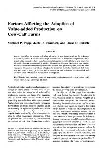 Factors Affecting the Adoption of Value-added ... - AgEcon Search