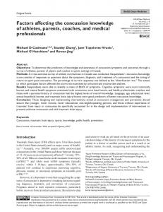 Factors affecting the concussion knowledge of ... - SAGE Journals