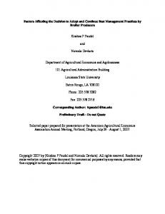 Factors Affecting the Decision to Adopt and Continue ... - AgEcon Search