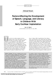 Factors Affecting the Development of Speech, Language, and Literacy ...