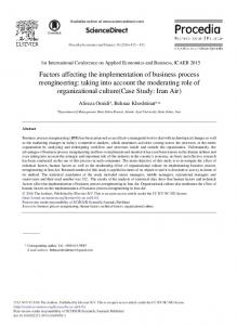 Factors Affecting the Implementation of Business ... - ScienceDirect