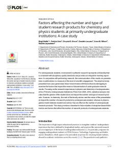 Factors affecting the number and type of student research ... - PLOS