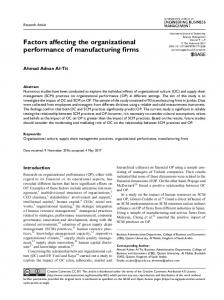 Factors affecting the organizational performance of ... - SAGE Journals