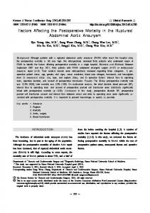 Factors Affecting the Postoperative Mortality in the