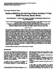 Factors affecting the training of farm workers in ... - Academic Journals