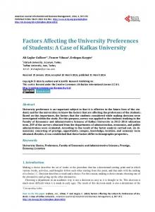 Factors Affecting the University Preferences of Students