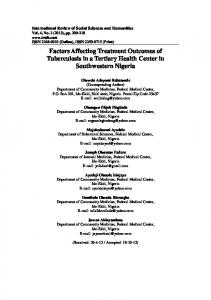 Factors Affecting Treatment Outcomes of Tuberculosis in a Tertiary ...