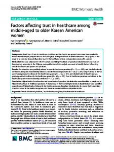 Factors affecting trust in healthcare among middle-aged to older ...