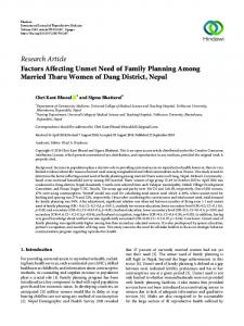 Factors Affecting Unmet Need of Family Planning Among Married