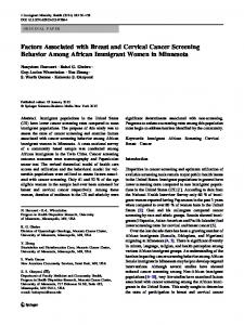 Factors Associated with Breast and Cervical Cancer ... - Springer Link