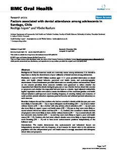 Factors associated with dental attendance among adolescents in