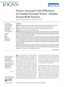 Factors Associated with Differences in Canadian Perinatal ... - CiteSeerX