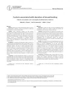 Factors associated with duration of breastfeeding - SciELO