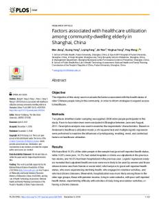 Factors associated with healthcare utilization among ... - PLOS