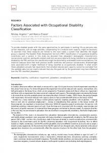 Factors Associated with Occupational Disability Classification