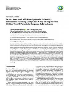 Factors Associated with Participation in Pulmonary Tuberculosis