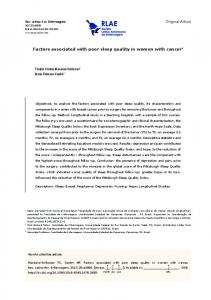 Factors associated with poor sleep quality in women with ... - SciELO