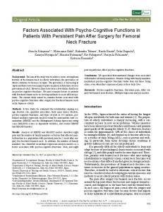 Factors Associated With Psycho-Cognitive