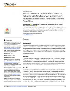 Factors associated with residents - PLOS