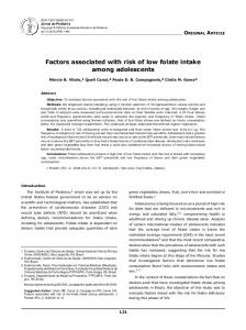 Factors associated with risk of low folate intake among ... - Scielo.br