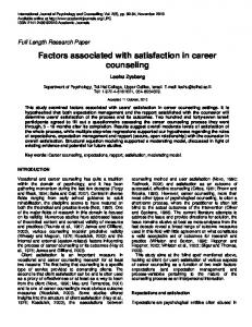 Factors associated with satisfaction in career ... - Academic Journals