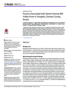 Factors Associated with Severe Human Rift Valley Fever in ... - PLOS
