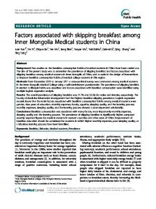 Factors associated with skipping breakfast among ... - Springer Link