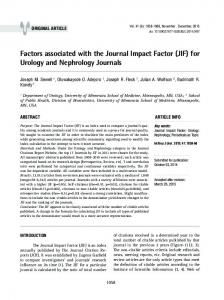 factors associated with the Journal Impact factor (JIf) - SciELO