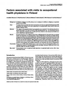 Factors associated with visits to occupational health physicians in ...