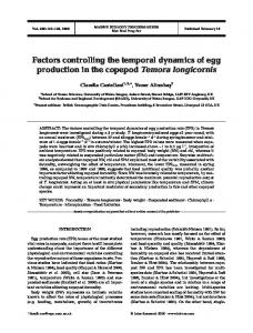 Factors controlling the temporal dynamics of egg production in the ...